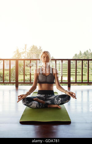 Shot of fit young female meditating in yoga class. Woman in yoga pose with eyes closed sitting on floor. - Stock Photo