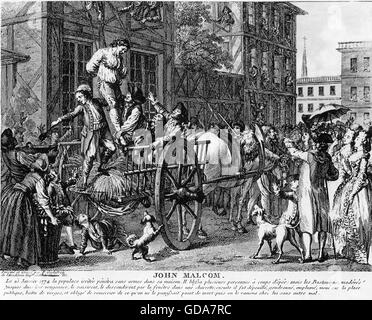 JOHN MALCOLM (?-1778) English customs official tarred and feathered during the American Revolution in January 1774 - Stock Photo
