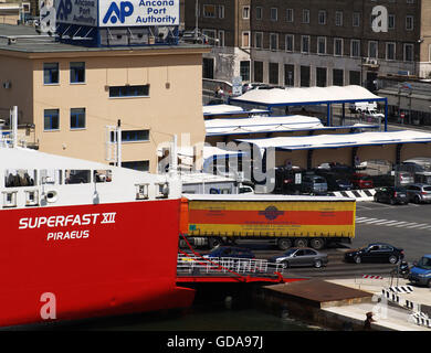 View of vehicles boarding Superfast XII Ferry at Ancona Port from onboard Minoan Lines Ferry Cruise Olympia - Stock Photo