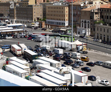 View of vehicles waiting to board Superfast XII Ferry at Ancona Port from onboard Minoan Lines Ferry Cruise Olympia - Stock Photo