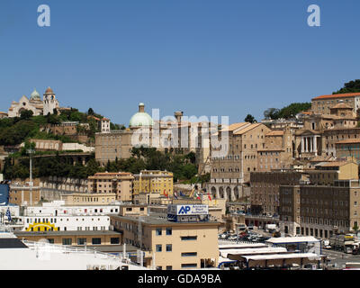 View of Cattedrale di San Ciriaco and town centre at Ancona Port from onboard Minoan Lines Ferry Cruise Olympia - Stock Photo