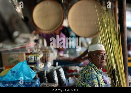 the market in the city of Bandar seri Begawan in the country of Brunei Darussalam on Borneo in Southeastasia. - Stock Photo