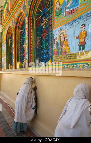 Christian pilgrims at Enda Iyesus Church, Axum. Aksum. Ethiopia - Stock Photo