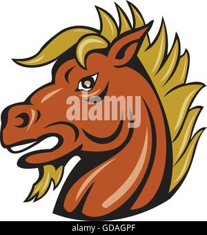 Illustration of a head of an angry stallion viewed from the side set on isolated white background done in cartoon - Stock Photo