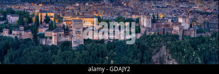 Panoramic view of the Moorish Islmaic Alhambra Palace comples and fortifications. Granada, Andalusia, Spain - Stock Photo