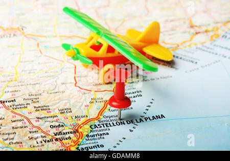 Close up of Castellon de la Plana Spain map with red pin travel