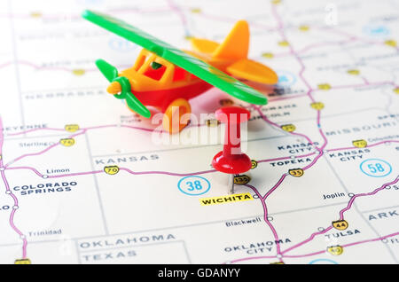 Close Up Of Wichita Kansas USA Map With Red Pin And Taxi Car Stock - Kansas us map