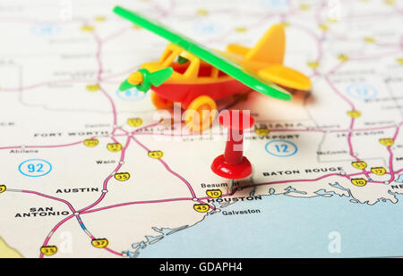 Close Up Map Of Houston Texas USA Stock Photo Royalty Free Image - Houston us map