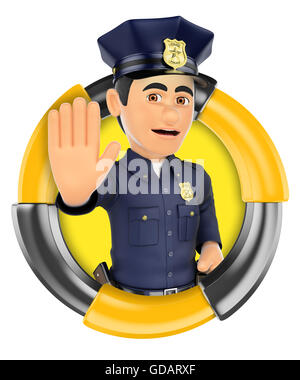 3d logo illustration. Policeman ordering to stop with hand. Isolated white background. - Stock Photo