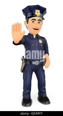 3d security forces people illustration. Policeman ordering to stop with hand. Isolated white background. - Stock Photo