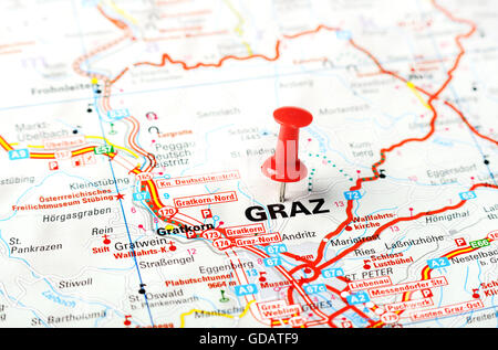 Close Up Of Graz Austria Map With Red Pin And A Taxi Travel - Graz austria map