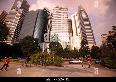 Asien, Suedost, Singapur, Insel, Staat, Stadt, City, Skyline, Zentrum, Bankenviertel, Hochhaus, Wolkenkratzer, Bank, - Stock Photo