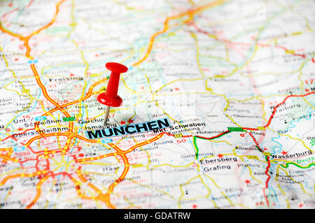 Close Up Of Munchen Germany Map With Red Pin Travel Concept - Munchen germany map
