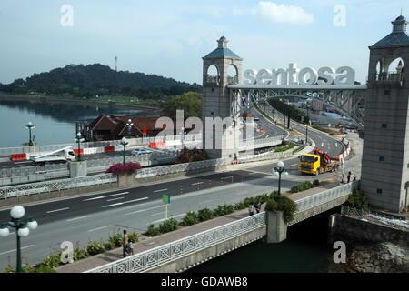 Asien, Suedost, Singapur, Insel, Staat, Stadt, City, Sentosa Island, Bruecke, Strasse, Autobahn, - Stock Photo