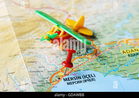 Close Up Of Mersin Turkey Map With Red Pin Travel Concept Stock - Mersin map