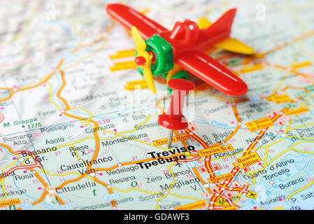 Close up of Treviso , Italy map with red pin and taxi - Travel ...