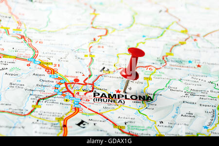 Red push pin pointing at Pamplona ,Spain  map - Stock Photo