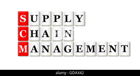 Conceptual SCM Supply Chain Management acronym on white - Stock Photo