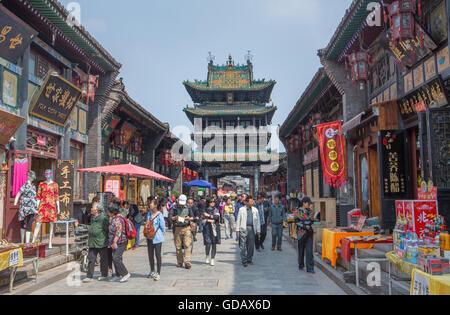 China,Shanxi Province,Pingyao City,world heritage,South Street,Market Tower - Stock Photo