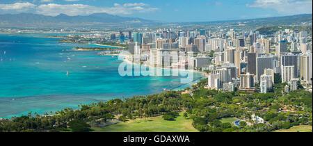 USA,Hawaii,Oahu,Honolulu,Waikiki,panoramic image from Diamond Head - Stock Photo