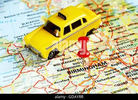 Road Map of Birmingham England Stock Photo Royalty Free Image