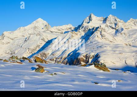 Dent Blanche - 4357 ms,Ober Gabelhorn - 4063 ms,Valais,Switzerland - Stock Photo