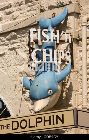 UK, Wales, Gwynedd, Barmouth, King Edward Street, Dolphin fish and chip shop sign - Stock Photo