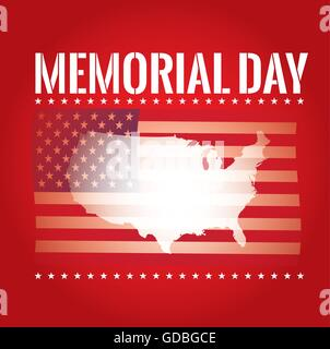 ilratiom eps10 colored background with text the american flag and map for memorial day stock po