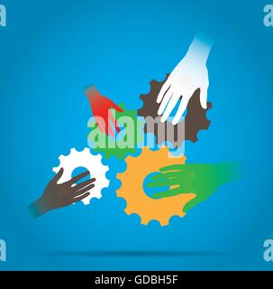 Group of hands with pieces of gears on a blue background - Stock Photo