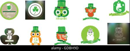 Set of saint patrick's backgrounds and banners with text and different objects - Stock Photo