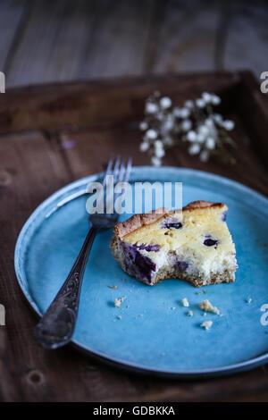Blueberry lemon tart - Stock Photo