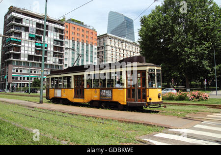 MILAN, ITALY - JUNE 27, 2016: historic tram renovated in Repubblica square, ATM Class 1500 was built between 1920 - Stock Photo