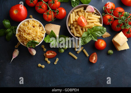 pasta and cooking ingredients, food background