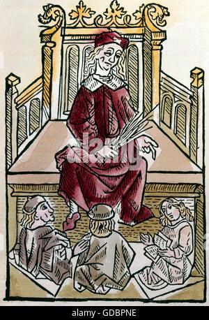 Albertus Magnus von Bollstaedt, Earl, circa 1193 - 15.11.1280, German theologian, philosopher, full length, as teacher - Stock Photo