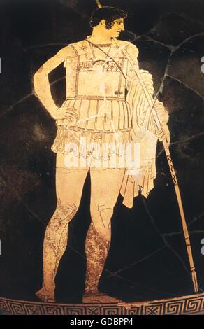 Achilleus, Greek legendary character, full length, detail of an Attic amphora, Achilleus master, circa 440 BC, Fine - Stock Photo