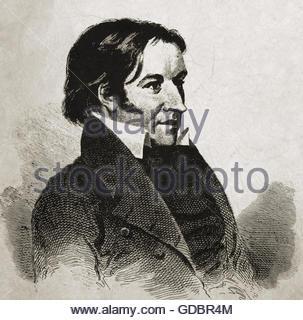Crockett, David 'Davy', 17.8 1786 - 6.3.1836, American pioneer and politician, portrait, wood engraving, 19th century, - Stock Photo