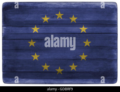 horizontal front view 3d illustration of an European Union flag on wooden textured cooking board - Stock Photo