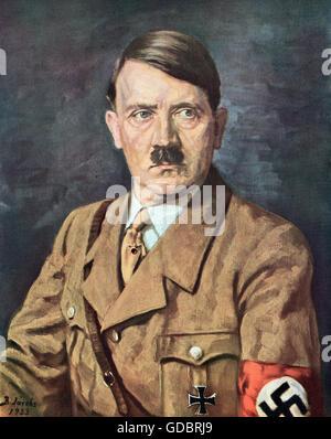 Hitler, Adolf, 20.4.1889 - 30. 4.1945 German politician (NSDAP), Chancellor of the Reich 30.1.1933 - 30.4.1945, - Stock Photo