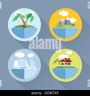 Islands set flat style. Palm tree, ship, mountains, house. Digital vector image - Stock Photo