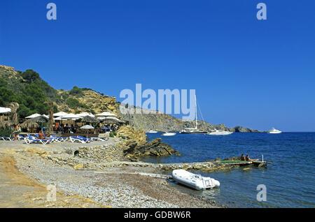 Beach nearby Sa Caleta, Ibiza, Balearic Islands, Spain - Stock Photo