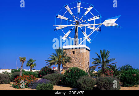 Windmill in Sant Jordi, Ibiza, Balearic Islands, Spain - Stock Photo