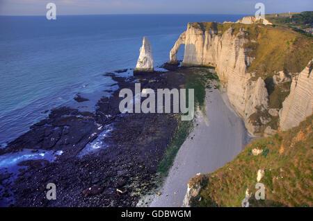 Falaise d'Amont, rocky coast, Etretat, Normandy, France - Stock Photo