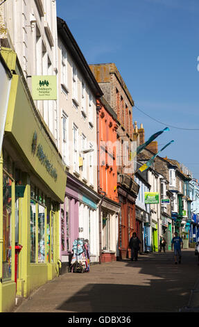 Row of colourful shops in town centre, Penzance, Cornwall, England, UK - Stock Photo