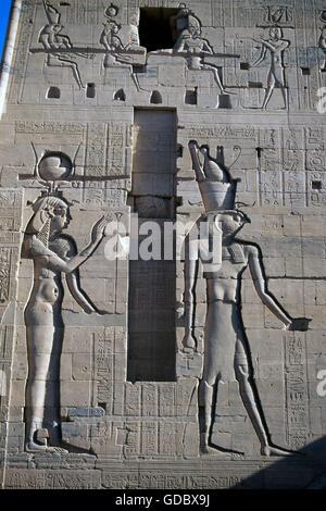 Facade of the Horus Temple, Edfu, Egypt - Stock Photo