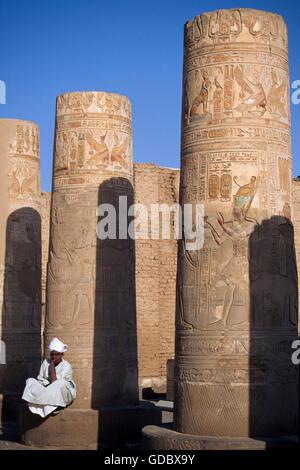 Temple guard, Kom Ombo Temple, Egypt - Stock Photo