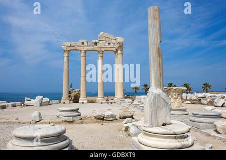 Temple of Apollo in Side, Turkish Riviera, Turkey - Stock Photo
