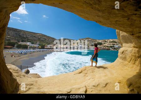 Matala Beach, Crete, Greece - Stock Photo
