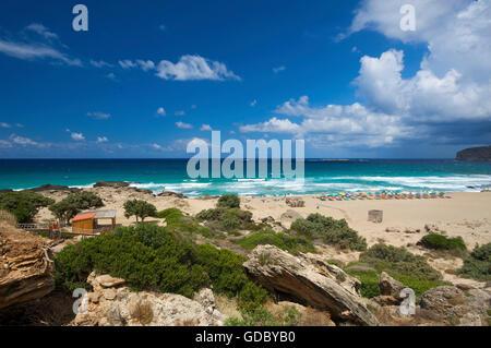 Falasarna Beach, West Coast, Crete, Greece - Stock Photo