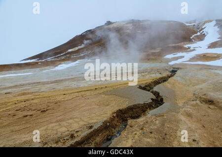 Hot springs and mud pots of Hverarönd near Myvatn in north Iceland. - Stock Photo