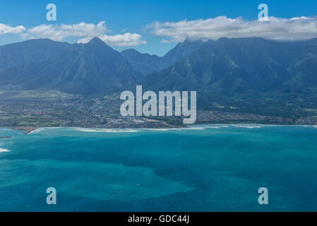 USA,Vereinigte Staaten,Amerika,Hawaii,Maui,Kahului,aerial view - Stock Photo